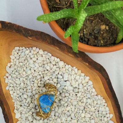 blue apatite bracelet brass